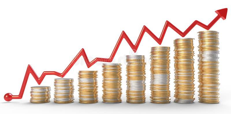 Crescimento: gráfico vermelho sobre moedas douradas ilustração royalty free
