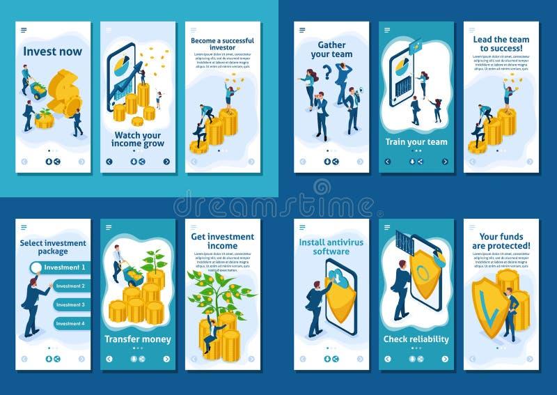 Crescimento isométrico dos investimentos, Team Success ilustração do vetor