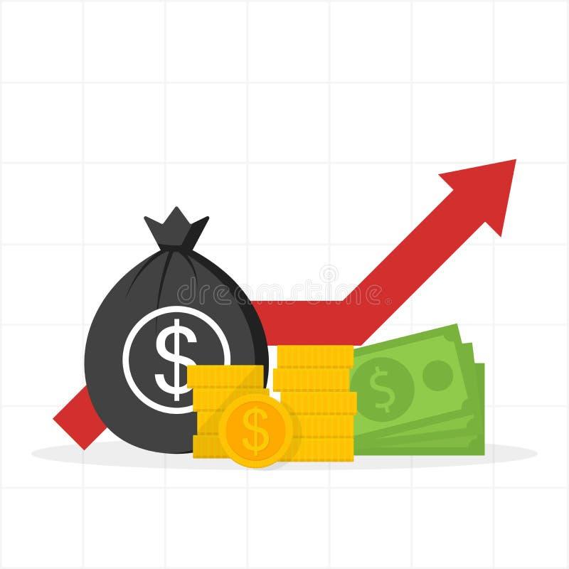 Crescimento monetário Dólar vermelho da seta, moedas, saco do dinheiro Ilustração do vetor ilustração do vetor