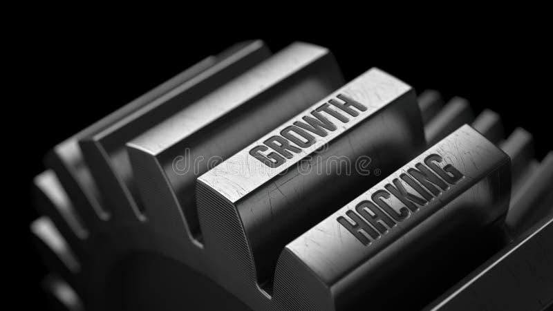 Crescimento que corta nas engrenagens do metal ilustração stock