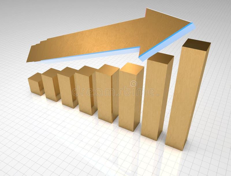 Crescita del grafico commerciale dell'oro fotografia stock libera da diritti