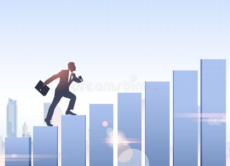 Crescita dell'uomo di affari del grafico di Climb Financial Bar dell'uomo d'affari della siluetta illustrazione vettoriale