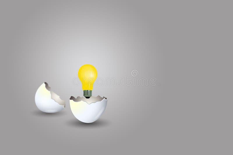 Crescita della lampadina della luce gialla dall'uovo incrinato su fondo grigio illustrazione vettoriale