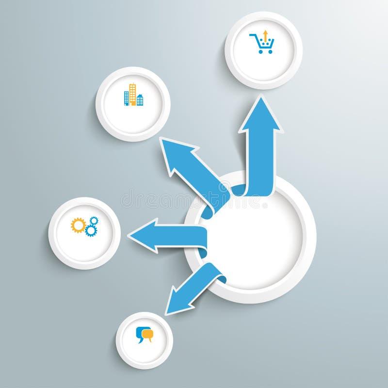 Crescita delle frecce del cerchio di Infographic di esternalizzazione illustrazione vettoriale