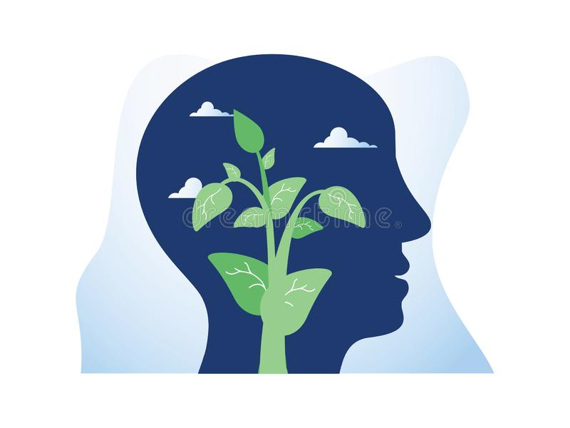 Crescita di auto, sviluppo potenziale, motivazione ed aspirazione, salute mentale, mindset positivo, meditazione di consapevolezz illustrazione di stock