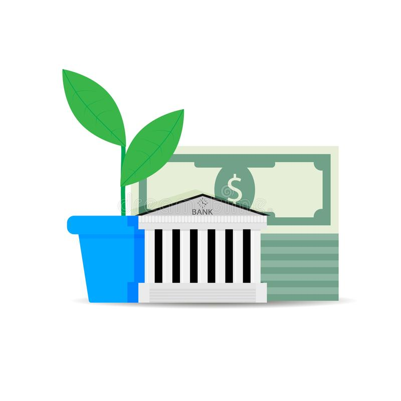 Crescita di capitale finanziario in banca royalty illustrazione gratis