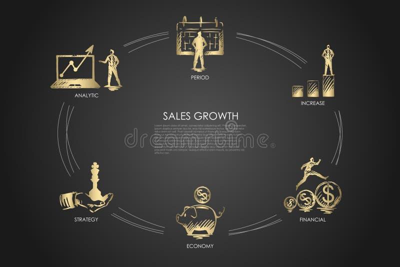Crescita di vendite - analitica, periodo, aumento, economia, concetto dell'insieme di strategia royalty illustrazione gratis
