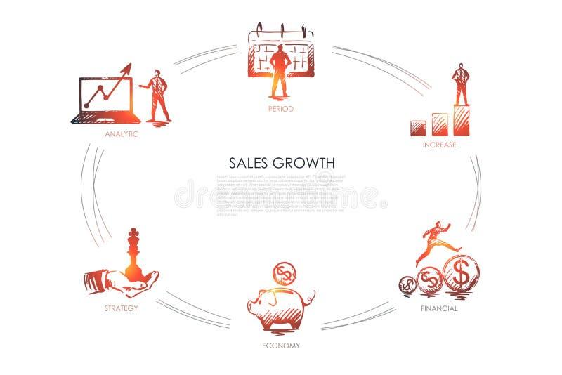 Crescita di vendite - analitica, periodo, aumento, economia, concetto dell'insieme di strategia illustrazione di stock