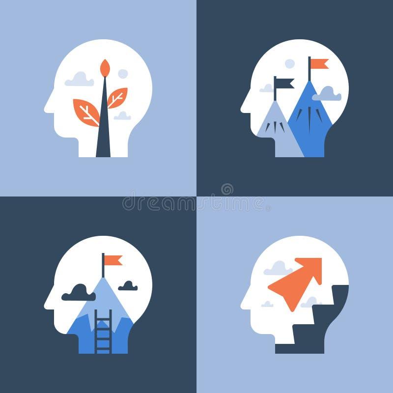Crescita e motivazione personali, corso di formazione, miglioramento di auto, mindset positivo, sviluppo potenziale, modo fino a  royalty illustrazione gratis