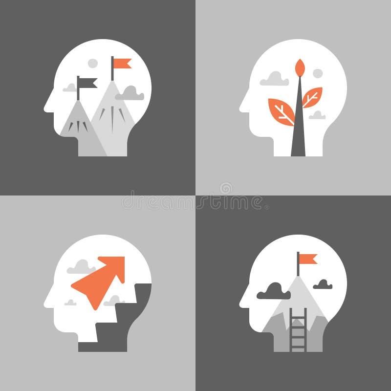 Crescita e motivazione personali, corso di formazione, miglioramento di auto, mindset positivo, sviluppo potenziale, modo fino a  illustrazione vettoriale