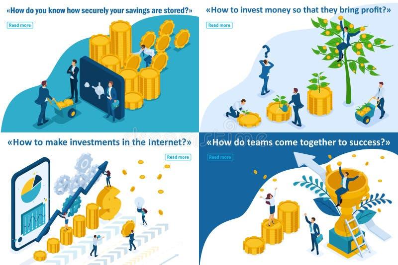 Crescita isometrica di investimenti, Team Success illustrazione di stock