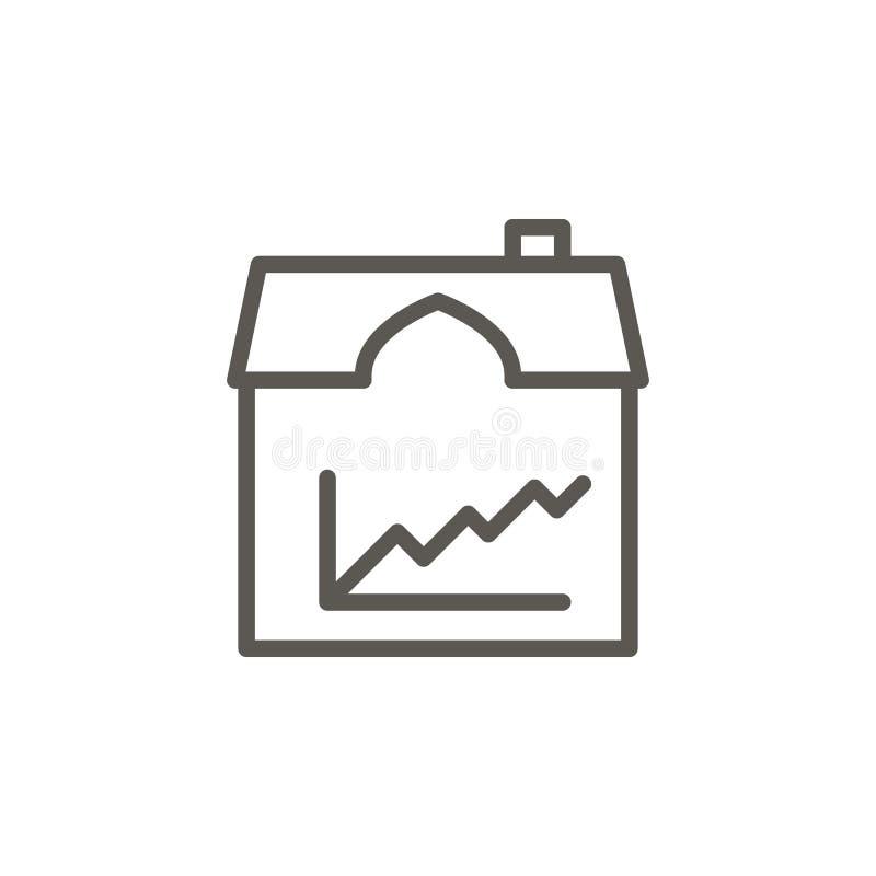 Crescita, mercato, prezzo, icona di vettore del bene immobile Illustrazione semplice dell'elemento dal concetto di UI Crescita, m illustrazione di stock