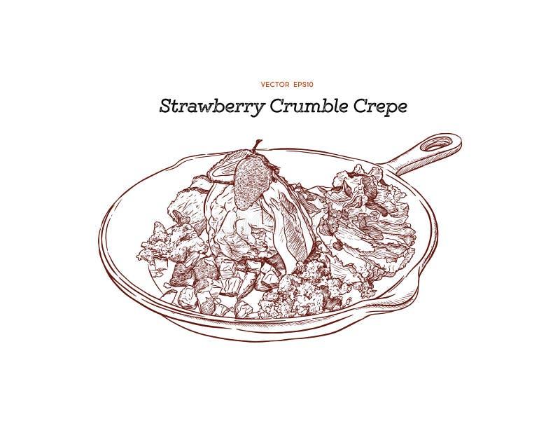 Crespón del helado de la fresa con servicio de la migaja en cacerola Drenaje de la mano stock de ilustración