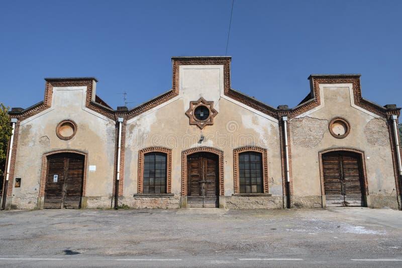 Crespi δ ` Adda Ιταλία, ιστορικό βιομηχανικό χωριό στοκ φωτογραφία