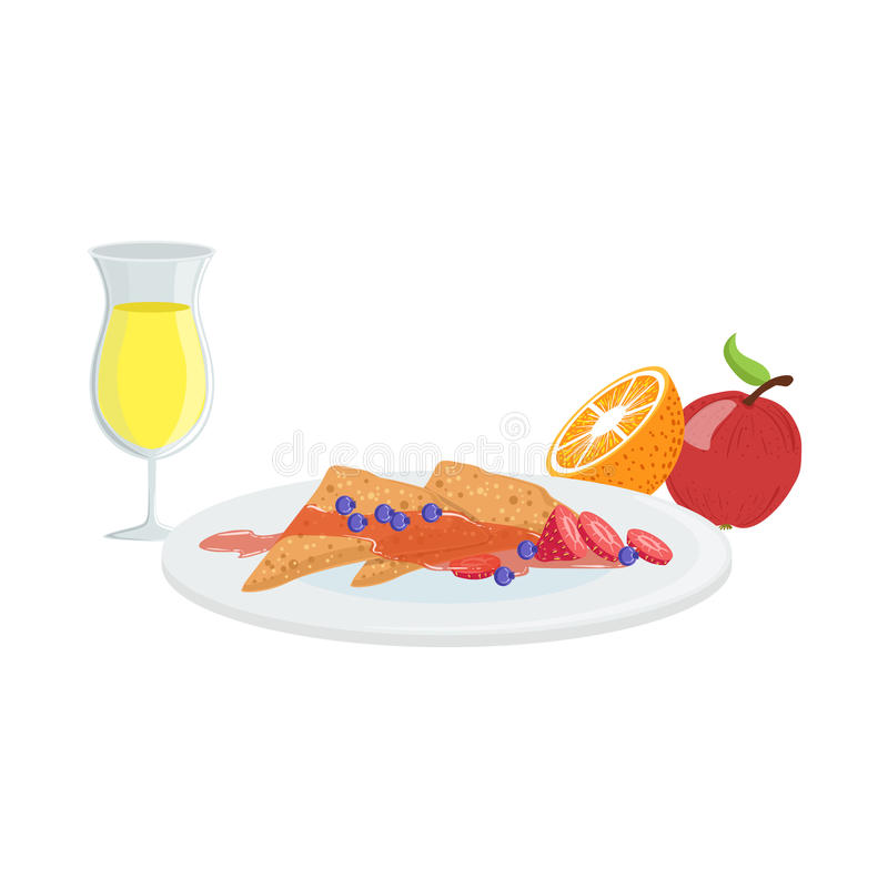 Crespones, fruta y Juice Breakfast Food Drink Set dulces stock de ilustración
