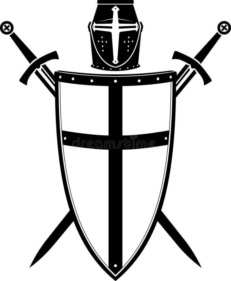 CREST, Armor Helmet en het Zwaard van de kruisvaarder royalty-vrije illustratie