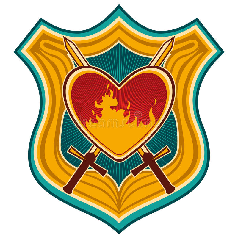 Download Crest with heart. stock vector. Image of conceptual, nostalgia - 19018642