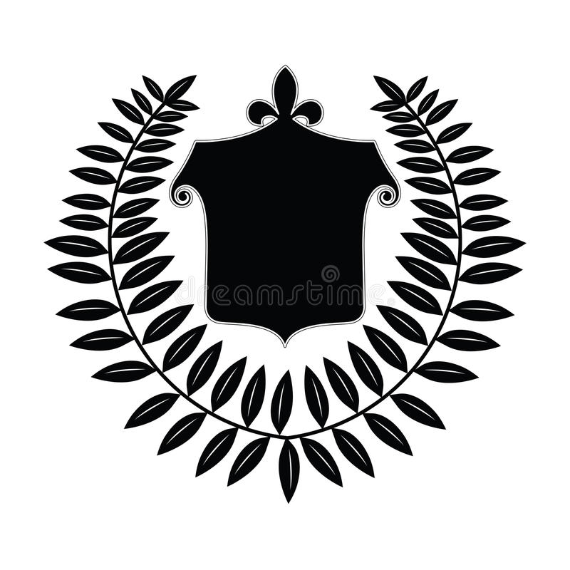 Download Crest with Laurel Leaf stock vector. Image of arms, badge - 13095695