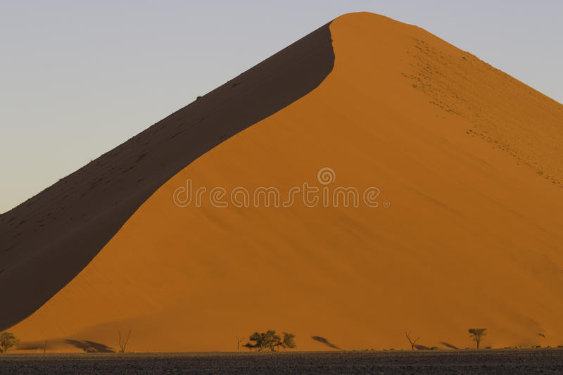 The crest of a red dune in the Namib Desert, in Sossusvley, Namibia. The crest of a red dune in the Namib Desert, in Sossusvlei, in the Namib-Naukluft National royalty free stock image
