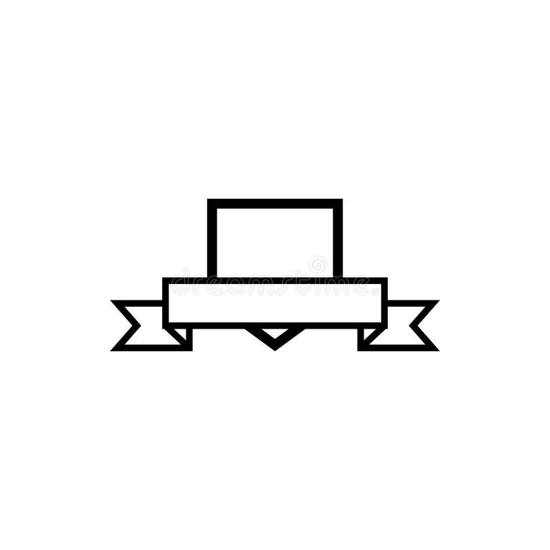 CREST-schild met de ontwerpsjabloonvector van het lintpictogram stock illustratie