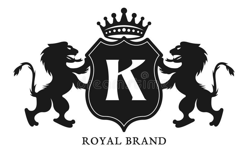 Crest with shield and two lions vector emblem vector illustration