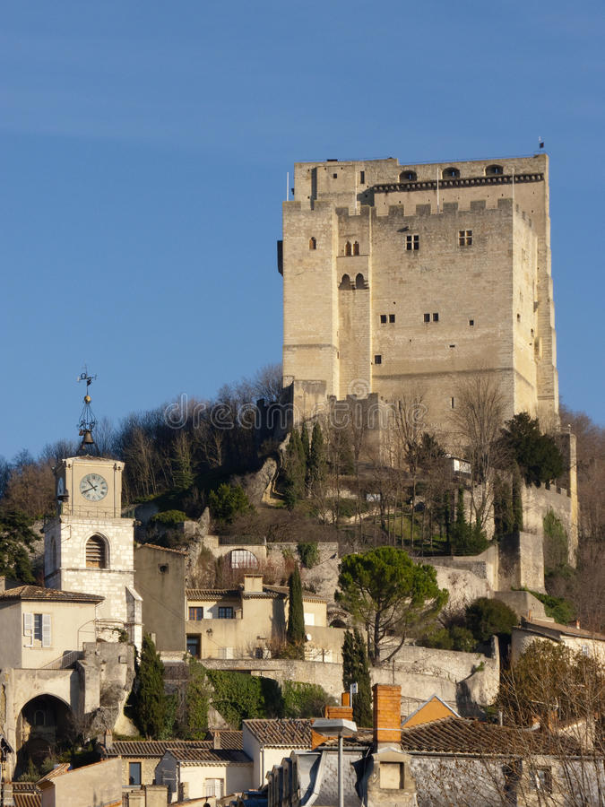 Crest tower. City of Crest, Drome, France stock photography
