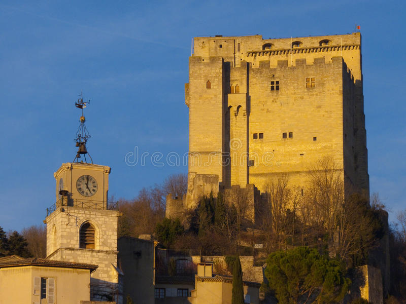 Crest tower. City of Crest, Drome, France royalty free stock image