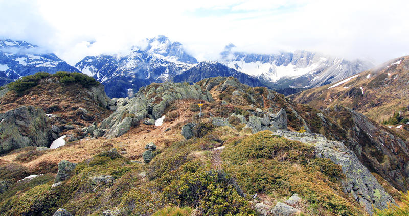 Crest trail on a summit of the alps (lesachtal) stock image