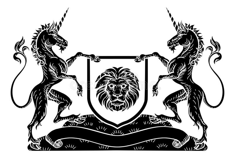 CREST Unicorn Shield Heraldic van het wapenschildembleem stock illustratie