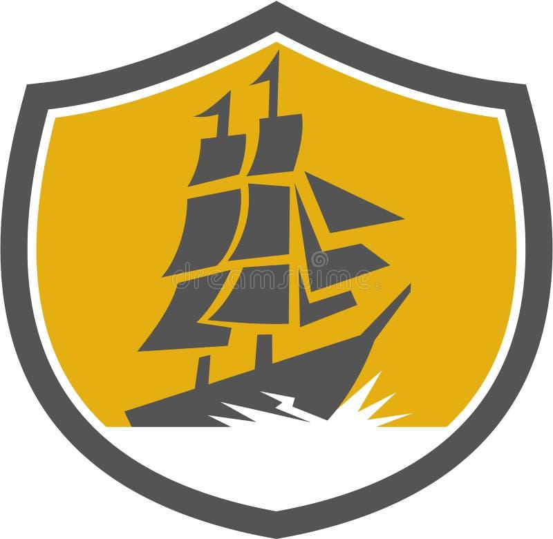 Cresta alta della nave di galeone di navigazione retro illustrazione di stock