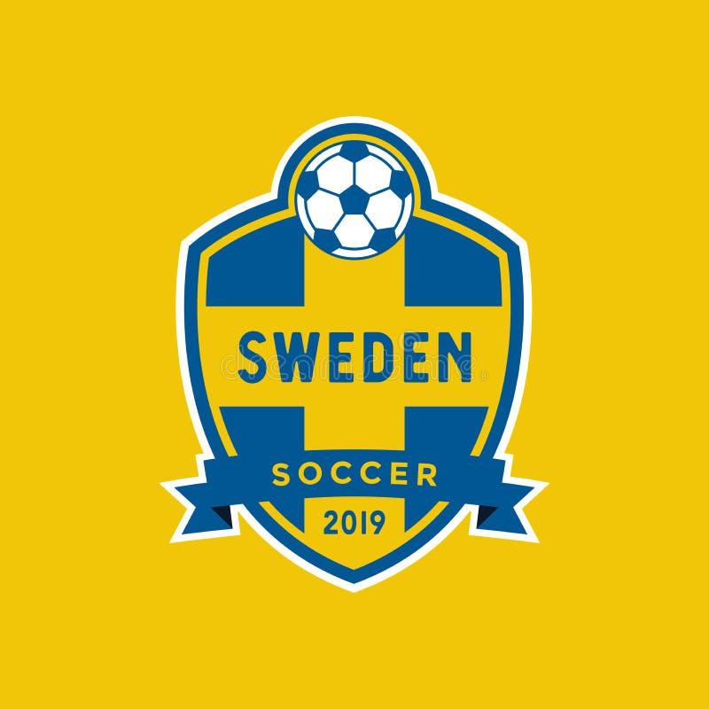 Cresta del fútbol del campeonato de la bandera de Suecia stock de ilustración
