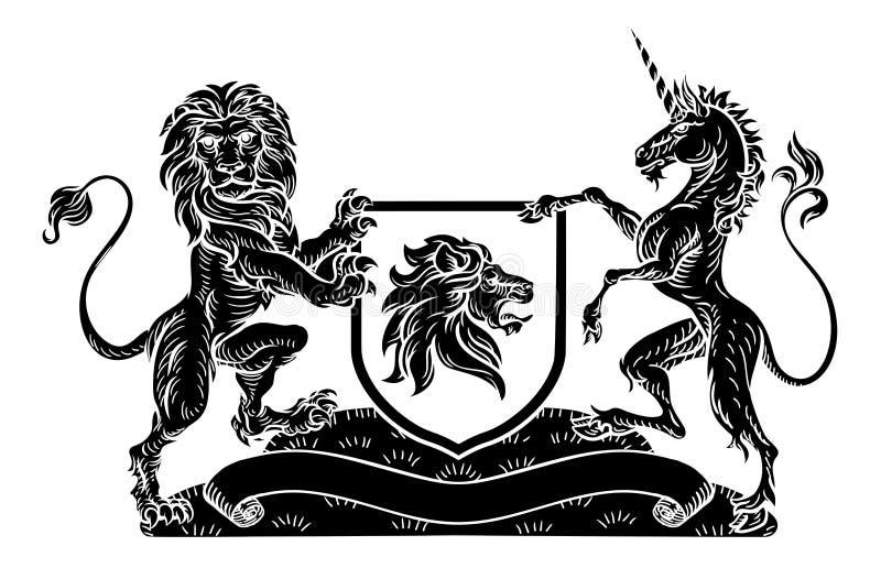 Cresta Lion Unicorn Shield Coat heráldico de brazos ilustración del vector
