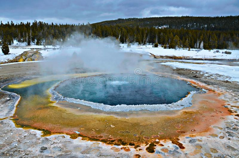 Crested Pool Yellowstone National Park In The Winter Stock