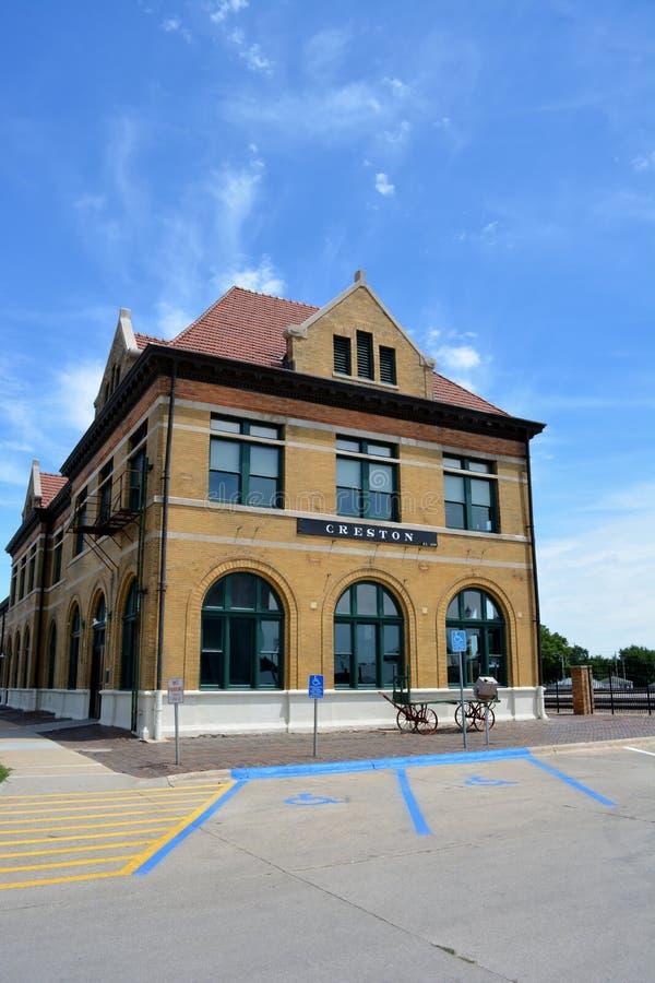 Creston Iowa linii kolejowej stacja zdjęcie stock