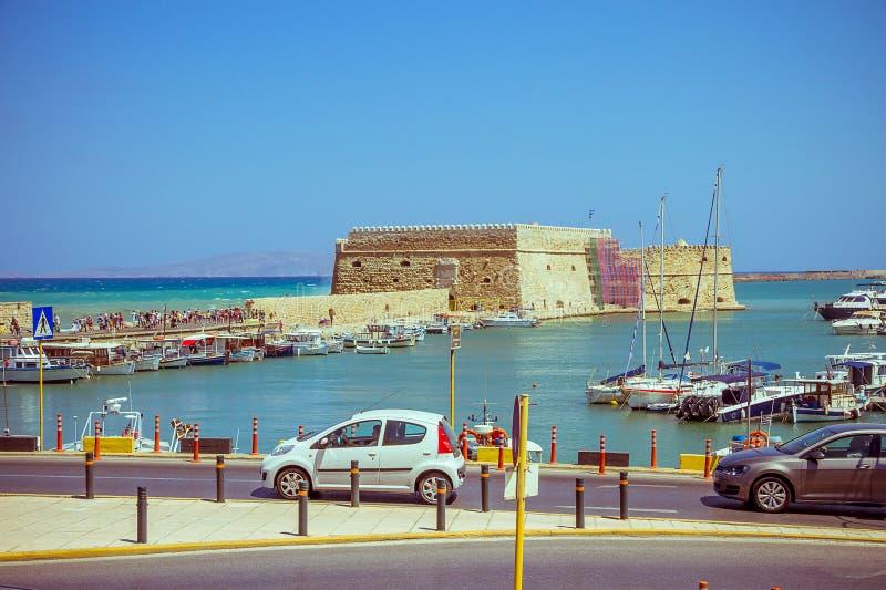Creta Candia 25 agosto: Fortezza veneziana Koules fotografia stock