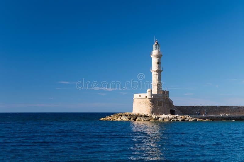 Creta de Chania do farol, Grécia imagem de stock royalty free