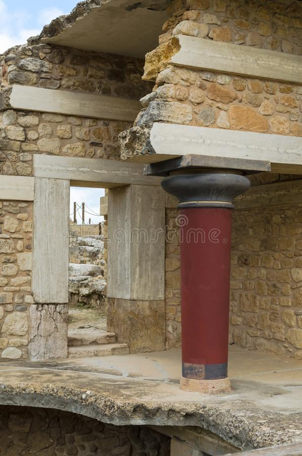 CRETA, GRECIA - 2 novembre 2017: ruines antichi del palazzo di Cnosso del famouse a Creta immagini stock libere da diritti
