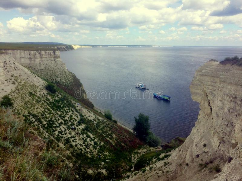 Volga. Cretaceous mountains. Kind on Volga. The Volga banks are in the red army Soldier district. Saratov area. The border with the Volgograd region royalty free stock photos