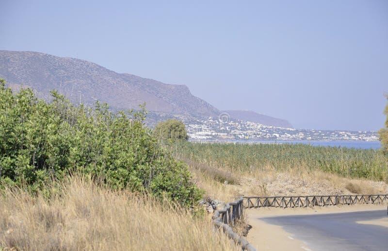 Cretan Krajobrazowy widok na Malia kurorcie od Crete wyspy w Grecja zdjęcie royalty free
