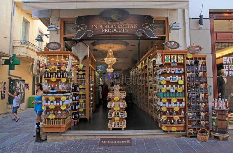 Cretan prezenta sklep w starym miasteczku, Rethymno, Crete, Grecja fotografia stock