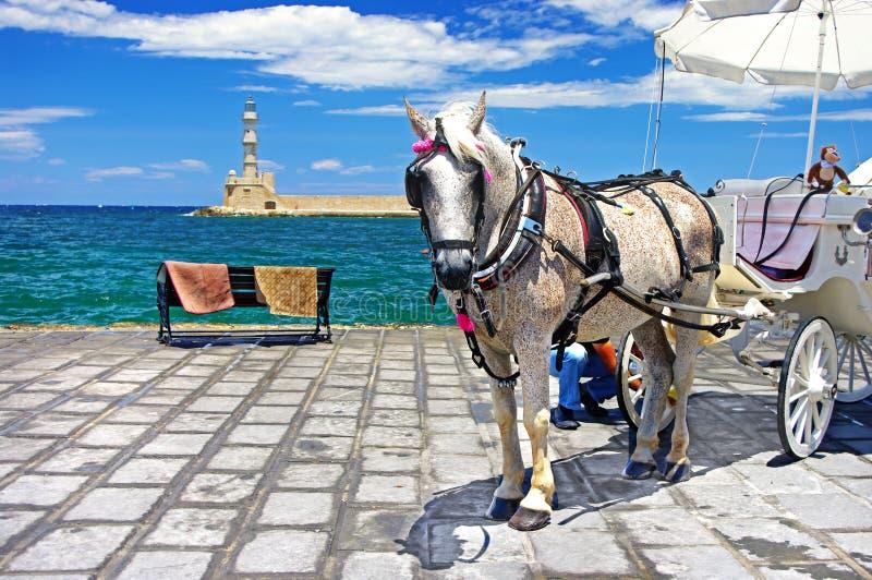 Crete - Chania. Beautiful Greece series - Chania port,square stock photography