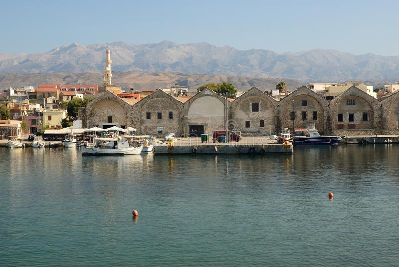 Crete Chania Stara stocznia fotografia royalty free