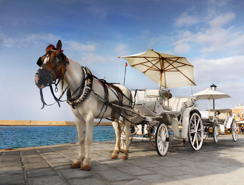 Greece Crete Horse Drawn Carriage royalty free stock images