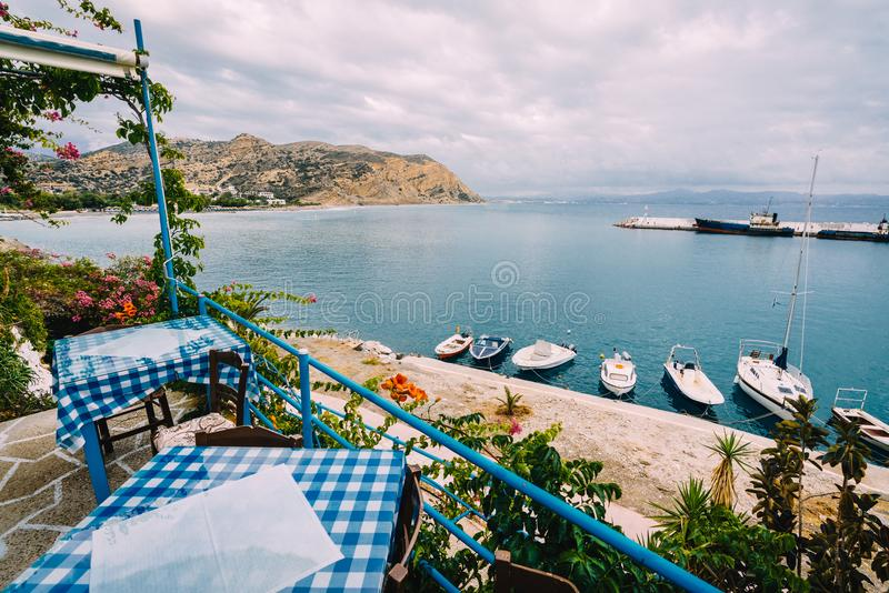Crete, Creece, August 2018: View from the Restaurant Zorbas Beach and Bar in Kokkini Hani, Crete with a nice view over royalty free stock image