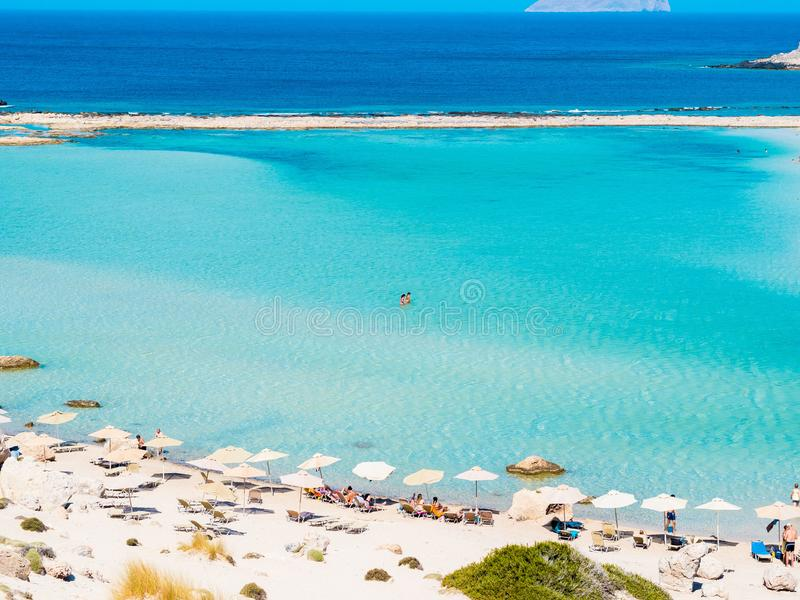 Crete, Greece: Balos lagoon paradisiacal view of beach and sea. Lagoon of Balos is one of the most visited tourist royalty free stock photos