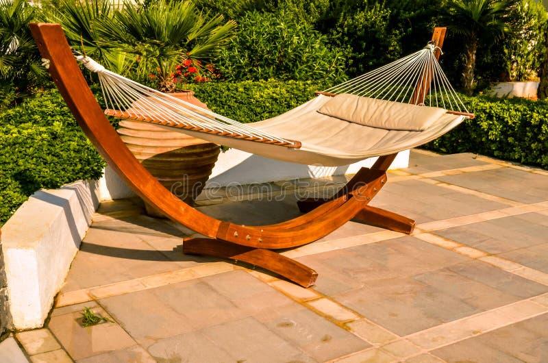 Crete, Greece - hammock at luxury exotic resort.  royalty free stock images