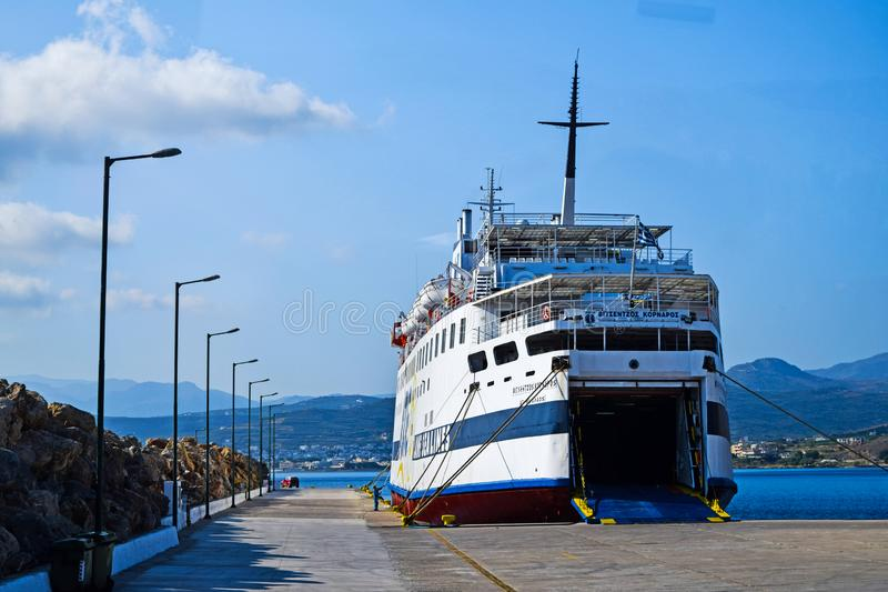 Crete, Greece - June 25, 2015: cruise ship in port of Greece island stock images