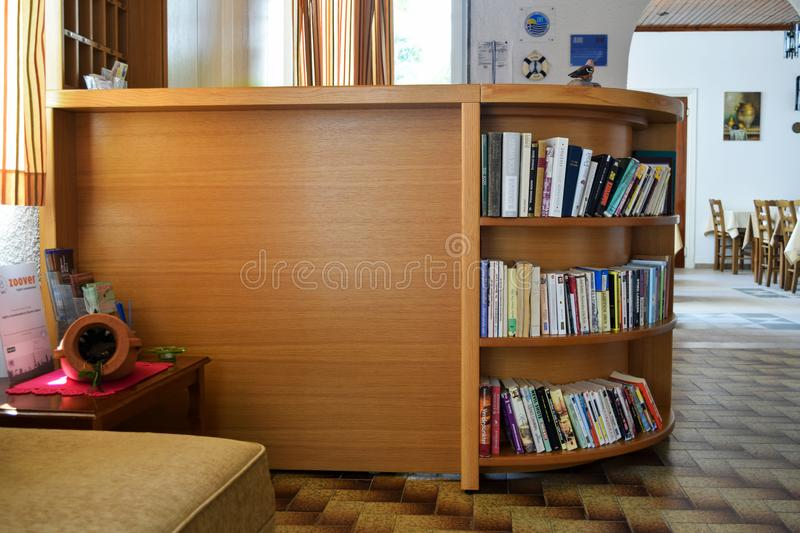 Crete, Greece, June 29, 2015: place of organized crossbooking in the hotel at the reception royalty free stock photos