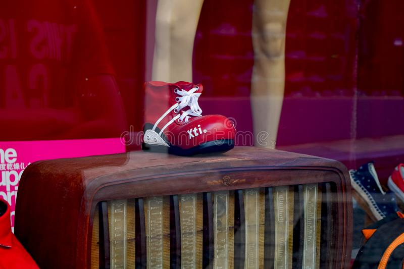 Crete, Greece, June 29, 2015: stylish youth shoes in a shop window stock photo