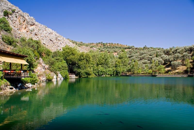 crete greece lakezaros royaltyfria bilder